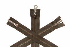 Três zippers do metal Imagens de Stock Royalty Free