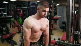 Tríceps atractivo descamisado del entrenamiento del hombre usando la cruce en el gimnasio Cuerpo muscular, opinión del primer Tir almacen de metraje de vídeo