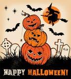 Trío de la calabaza de Halloween y silueta de las brujas Foto de archivo
