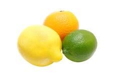 Trío de la fruta cítrica Fotos de archivo