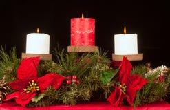 Trío de la vela de la Navidad Fotografía de archivo