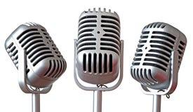 Trío de los micrófonos de la vendimia fotos de archivo