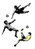 Trío del fútbol Fotografía de archivo libre de regalías