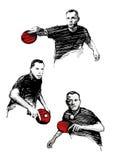 Trío del ping-pong stock de ilustración