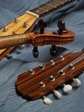 Trío principal de la mandolina, del violín y de la guitarra Foto de archivo