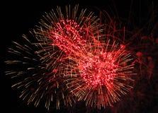 Trío rojo de los fuegos artificiales Imagen de archivo libre de regalías