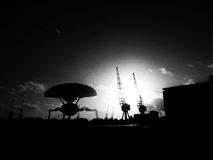 Trípode extranjero en los Docklands Foto de archivo libre de regalías