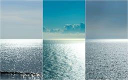 Tríptico azul de plata del océano Fotografía de archivo
