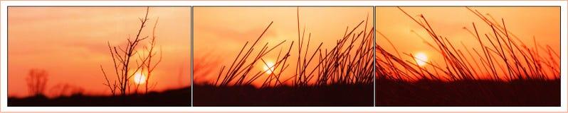 Tríptico del amanecer imagenes de archivo