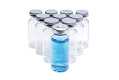 Trójbok medyczne buteleczki na bielu Zdjęcia Royalty Free