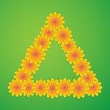 Trójbok z żółtymi kwiatami Zdjęcia Royalty Free