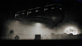 Trójboka Obcy statek kosmiczny Nad gospodarstwem rolnym Przy nocą Fotografia Stock
