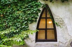 Trójboka okno na starej grunge ścianie Zdjęcie Stock
