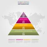 Trójboka ostrosłup kroczy Biznesowego Infographics strategii projekt Obrazy Stock