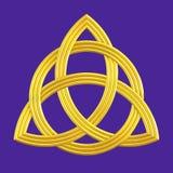 Trójcy kępki Triquetra złocisty symbol Zdjęcie Stock