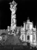 Trójcy kolumna i franciscion kościół St Pölten w czarny i biały Fotografia Stock