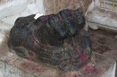 Trójgłowy nandi przy Hampi, Karnataka, India fotografia royalty free