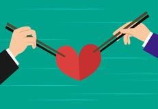 Trójkąt miłosny, miłości rywalizacja między dwa mężczyzna royalty ilustracja