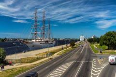 Trójmasztowy statek w porcie Ryski Fotografia Royalty Free