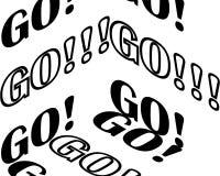 Trójwymiarowa konturowa inskrypcja - iść ilustracji
