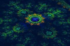 Trójwymiarowy kwiecisty fractal na zmroku Zdjęcie Royalty Free