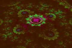 Trójwymiarowy kwiecisty fractal na zmroku Obraz Stock