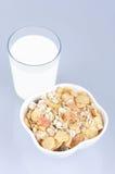 Trópico de Muesli y vidrio de leche Imágenes de archivo libres de regalías