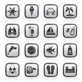 Trópico preto e branco, praias e ícones do verão ilustração royalty free