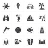 Trópico preto, praias e ícones do verão ilustração stock