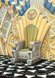 Trône égyptien d'imagination dans un temple illustration de vecteur