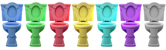 Trône multi de porcelaine de tête de commode de toilette de couleur images libres de droits