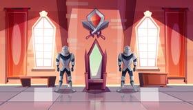 Trône royal dans le vecteur de bande dessinée de château ou de musée illustration libre de droits