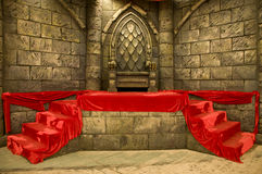 trône royal de Moyen-âge Photo stock