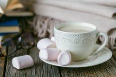 Trösten Sie Tee mit warmem Wollplaid und -bonbons Stockfoto