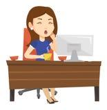 Trött anställd som i regeringsställning arbetar vektor illustrationer