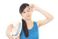 Trött asiatisk kvinna Arkivfoto