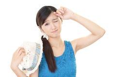 Trött asiatisk kvinna Royaltyfri Bild