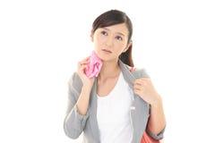 Trött asiatisk kvinna Arkivbild