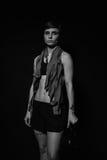 Trött boxarekvinna efter utbildningen Royaltyfri Bild