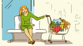 Trött dam With för tecknad film köp i en supermarketspårvagn Royaltyfria Bilder