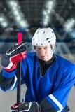 Trött hockeyspelare Arkivfoton