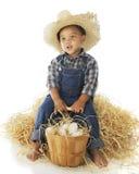 Trött liten lantgårdpojke arkivbild