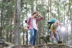 Trötta fotvandra par i skog Arkivbild
