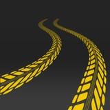Trötta spåret med perspektiv och mallen för gummihjul royaltyfri illustrationer