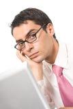 tröttad affärsman som trycks ned royaltyfri foto