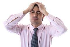tröttad affärsman som trycks ned Royaltyfria Bilder
