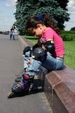 tröttad flicka Arkivfoto