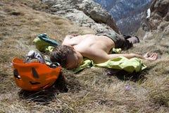 tröttad fotvandrare Fotografering för Bildbyråer