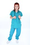 tröttad nödlägesjuksköterskalokal royaltyfri bild