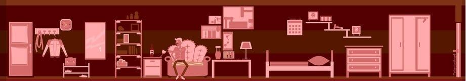 Tröttad och melankolisk person för rosa färgrum Arkivfoto
